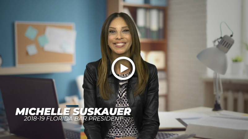 screenshot of michelle suskauer, president of the florida bar, video